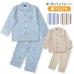 綿100% 長袖メンズパジャマ 春・秋に丁度よい厚さ 定番のかっこよさストライプ柄