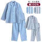 綿100% 冬 長袖 メンズパジャマ ストライプ柄 ふんわり柔らかなネル起毛 ブルー/グレー M/L/LL 前開き シャツタイプ