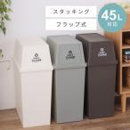 ゴミ箱 ダストボックス 45リットル おしゃれ 屋内用 蓋 フタ付き フラップ型 アースカラー