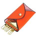 キーケース 6連 キーケース 王冠マーク キーケース キーホルダー オレンジ