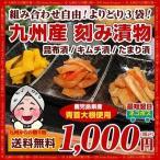 漬物 送料無料 3種から選べる 大人気 九州産漬物3袋セ
