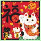 綿小ふろしき 中巾 招き猫 35-054417|b03