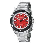 ショッピング円高還元 ストゥーリング 腕時計 Stuhrling 328B 331140 メンズ Atlantis Elite Date アナログ レッド ダイヤル シルバー 腕時計