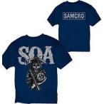 アメリカ人気キャラクター Tシャツ サンズオブアナーキー Sons of Anarchy Cracked SAMCRO Reaper Logo LIC Adult T-Shirt - Blue - 3XL