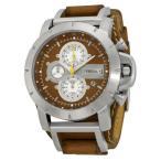 雅虎商城 - 腕時計 フォッシル Fossil クロノグラフ ブラウン レザー ストラップ メンズ 腕時計 JR1157