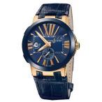 腕時計 ユリスナルダン Ulysse Nardin Executive デュアルタイム 246-00-5-43 ブルー ダイヤル ローズ ゴールド Ret: $21,900