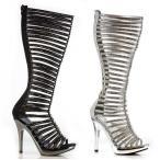 ショッピングニーハイ ブーツ シューズ 靴 エリーシューズ ELLIE M-STELLA レディース ハイ ヒール ニーハイ ストラップpy オープン Toe Rhineストーン ブーツ BLACK