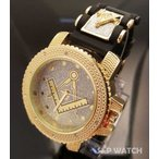 アクセサリー 腕時計 テクノペイヴ メンズ アイスアウト テクノ パヴェ ゴールド PT メイソニック フリーメイソン ヒップホップ ブレット バンド ウォッチ