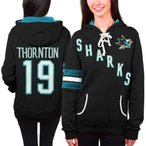 ホッケー NHL USA アメリカ Old Time Hockey Joe Thornton San Jose Sharks レディース ブラック Heidi パーカー