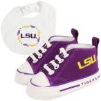 ショッピングスポーツ シューズ カレッジ NCAA アメリカ USA 大学 スポーツ ベイビー ファナティック LSU タイガース Infant Bib and シューズ Gift Set - パープル/ホワイト