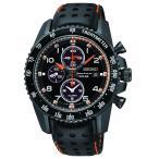 ショッピング円高還元 セイコー 腕時計 Seiko SSC273 スポーチュラ ソーラー クロノグラフ ブラック IP レザー ストラップ メンズ 腕時計