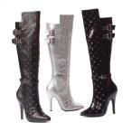 ショッピングニーハイ ブーツ シューズ 靴 エリーシューズ ELLIE 511-GWEN レディース 5 ヒール ニーハイ Pointed Toe ブーツ ウイズ スタッズ an バックルs BLACK