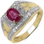 ジェムストーン マライカ Malaika Yellow Goldplated Sterling Silver 1Ct Genuine Ruby And Diamond Ring