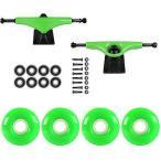 スケボー トラック スケートボード ロングボード  スケートボード スケボ パッケージ Havoc グリーン 5.0 トラック 52ミリ ネオン グリーン Abec 7 Bearing