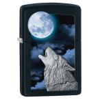 """オイルライター ジッポ Zippo """"Wolf Howling at Moon"""" エンブレム ライター ブラック マット仕上げ  28879"""