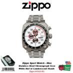ジッポライター ジッポ - ウォッチーズ Zippo スポーツ メンズ 腕時計_クロノグラフ_WHT ダイヤル w/ Zippo Logo_SS ブレスレット #45020-RG