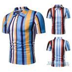 ポロシャツ メンズ ストライプ柄 ポロ 半袖ポロシャツ お兄系 POLO カジュアルウェア 半袖 夏服 2020 新作 父の日