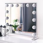 女優ミラーWonstart  卓上化粧鏡 化粧ハリウッドスタイル 14個LED電球付き 暖色・寒色 2色ライトモード 明るさ調節可能 女優ライト (シルバー)BEAUTME