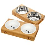 Panni 猫 食器 スタンド 陶器 犬猫用フード 水 ボウル