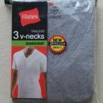 Hanesヘインズ V首 アンダーシャツTシャツ グレー杢 060 3枚 M/L/LL   HBJ1-003N  0835