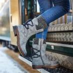 ブーツ レディース ウエスタンブーツ ショートブーツ ローヒール ブーツ ショート ニットブーツ 歩きやすい シンプル ニット 大きいサイズ 秋 冬 黒 ミドル