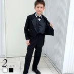 タキシード 60〜130cm ホワイト ブラック ベスト 5点フルセット フォーマルウェア 子供タキシード
