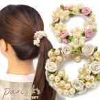 ショッピング薔薇 シュシュ ヘアアクセサリー ヘアゴム ローズ パール クラスター 花 フラワー 白 ピンク