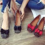 フラットシューズ ツイード織 オペラシューズ りぼん 可愛い レディース ぺたんこ ペタンコ バレエシューズ 靴 婦人靴 22.5cm〜25.5cm