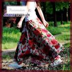 大きな花柄/マキシ丈スカート/超ロングスカート/総丈90cm/ベージュ×レッド/ウエストゴム・麻 リネン 丈80cmも入荷ゆうパケットでの発送可