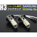 H3 LED フォグ 電球色 3000K 12V 24V 兼用 トラック ショート設計 2個1セット
