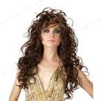 グラマラス ロングカールウィッグ(ブラウン) ハロウィン 仮装 衣装 変装グッズ パーティーグッズ 髪 コスプレかつら カツラ コスプレヘアー