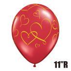 """Yahoo! Yahoo!ショッピング(ヤフー ショッピング)バレンタイン装飾 ブライダル装飾「11""""Rゴム風船 ロマンティックハーツ ルビーレッド ゴールドインク」ゴム風船 バルーン 室内装飾 デコレーション 飾りつけ"""