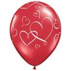 """Yahoo! Yahoo!ショッピング(ヤフー ショッピング)バレンタイン装飾 ブライダル装飾「11""""Rゴム風船 ロマンティックハーツ ルビーレッド ホワイトインク」ゴム風船 バルーン 室内装飾 デコレーション 飾りつけ"""