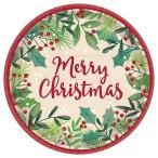 "Φ17.5cm8枚入り クリスマスパーティー「プレート7""メリーホリーデー」使い捨て デコレーション テーブルウェア 紙皿 パーティー"