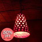 アジアン 照明 バリ ランプ:鉄板に水玉風ホールの吊り型ランプ・レッド