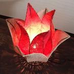 アジアン照明フロアスタンド バリ:チューリップ型ランプ・ナチュラル&レッド