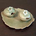 アジアン雑貨陶器食器 バリ:タバナン焼きプルメリア蓋付き薬味入れ