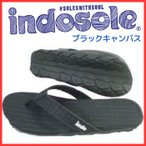 エコに貢献! インドソールサンダル Indosole ブラックキャンバス カジュアルサンダル レディース