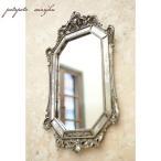 ロココ調 ウォールミラー オクタゴン アンティーク 壁掛け鏡 掛け鏡 鏡 ミラー