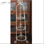 アイアングラススタンド 3段 コンポート アンティーク調 フラワースタンド 花瓶 花器 プリザーブドフラワー
