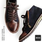 【予約販売】ブーツ  ミドルカット PUレザー×PUスウェード 配色切り替え サイドジップ