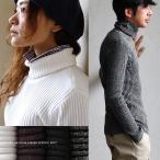 凹凸リブ編みだから、身体のラインを拾わない。