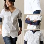 半袖 シャツ サファリシャツ ノーカラー ノーカラーシャツ ミリタリーシャツ 綿100% バックサテン (ジーアールエヌ) grn