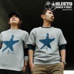 【予約販売】(ブルート) BLUETO 半袖 スウェット クルーネック「Star スター 星」プリント グレー トレーナー
