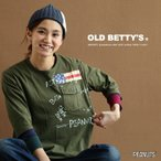 七分袖 Tシャツ SNOOPY スヌーピー フライングACE 国旗 PEANUTS ライセンス 日本製 (オールドベティーズ) OLD BETTY'S