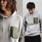 パーカー プルオーバー ジャガード織り スウェット 裏 パイル地風 綿100% MA-1風 ジップ付胸ポケット (ジーアールエヌ) grn