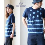 半袖 Tシャツ 「絞り ドット ボーダー 柄」プリント 日本製 クルーネック (ティグルブロカンテ) TIGRE BROCANTE