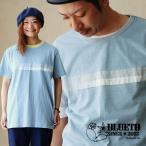 Tシャツ クルーネック 「パッチワーク ライン」 インディゴ染め 中肉厚 綿100% (ブルート) BLUETO