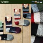 靴下 ソックス ミドル丈 L字型 日本製 ふんわり 柔らか ウール 混 ナイロン素材 マルチボーダー柄 (ラソックス) rasox