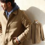 【予約販売】ハーフ丈コート カルゼ生地 比翼仕立て 裏地付き ステンカラーコート